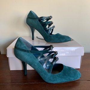 Nine West Jade Green Suede Mary Jane High Heels